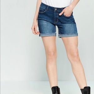 Mid-Rise Cuffed Denim Shorts